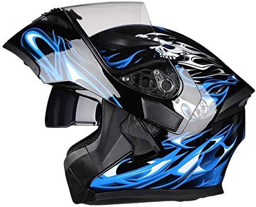 Casco Plegable para Motocicleta con Certificación Dot/ECE con Luz Trasera Y Casco Modular De Lente Dual Antivaho Casco Anticolisión De Seguridad para Adultos,F-XXL=(63~64cm)