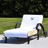 Authentic Hotel and Spa Turkish Cotton Monogrammed Towel Cover for Standard Size Chaise Lounge Chair White/H