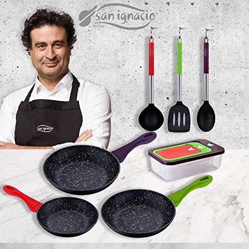 San Ignacio Jolie - Set de 3 Sartenes 3 Herméticos + Set Utensilios de Cocina , Aluminio Forjado, Inducción 22/24/28 cm