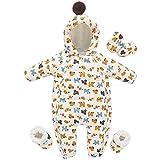 Baby Schneeanzug Jungen Mädchen Winter Strampler Jumpsuit Overall mit Reißverschlüsse Daunenjacket mit Kapuze Warme Outfit 3-6 Monate