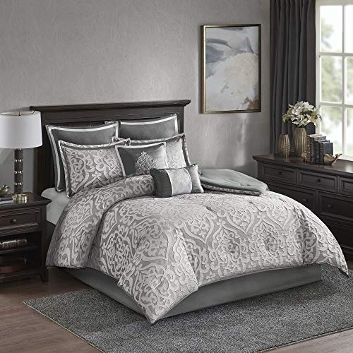 Madison Park Odette 8 Piece Jacquard Season Down Alternative Bedding, Matching Shams, Bedskirt, Decorative Pillows, King, Silver