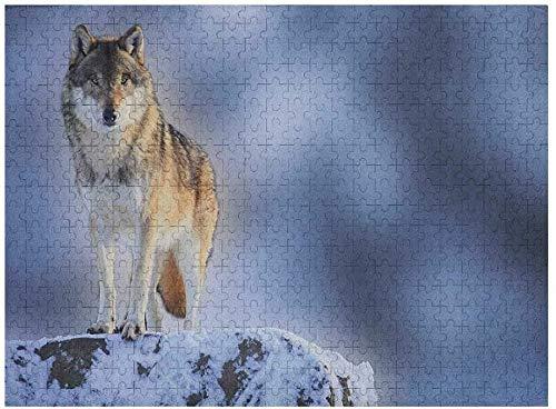 Rompecabezas de lobo para adultos, 500 piezas, animal carnívoro en montañas nevadas, fondo borroso, fotografía de naturaleza canina alpina, multicolor