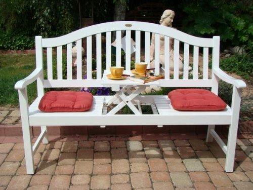 """VARILANDO Gartenbank """"Primrose"""" aus weiß lackiertem Eukalyptus Holzbank Sitzbank 3-Sitzer Hochzeitsbank - 2"""