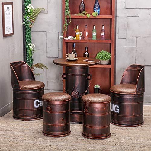 Bar Retro garnitur, stół beczka olejowa i krzesło połączenie, europejski zestaw barowy, czerwony i czerwony vintage stary industrialny wiatr mleko herbata deser sklep kawiarnia przechowywanie stołek/krzesło