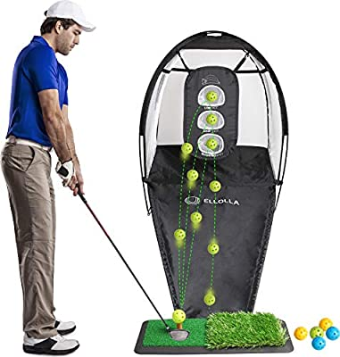 ELLOLLA Portable Golf Hitting Net with Turf Mat, Backyard Practice Swing Game with Ball Swing and Chipping Practice Holes, Golf Practice Net with 6 Practice Balls and Carry Bag