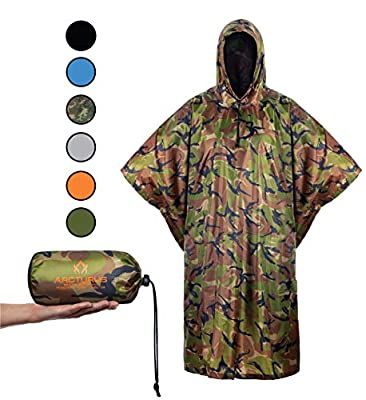 Arcturus Rain Poncho: Lightweight Ripstop Nylon Poncho with Adjustable Hood. Multipurpose, Large, Waterproof Design - Makes a Great Tarp, Backpacking Ground Cloth & Emergency Shelter (Camo) by Arcturus Camo