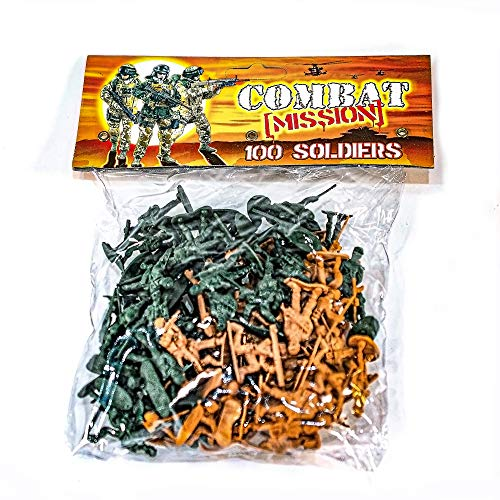 100 Combat Mission soldatini in plastica per Bambini Borsa Secchiello Party Bag Fillers