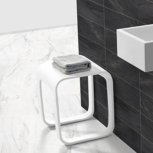 KKR Design Kunststein Badhocker/Duschhocker/Sitzhocker aus Mineralguss Modell: Stool-F, Oberfläche:Matt