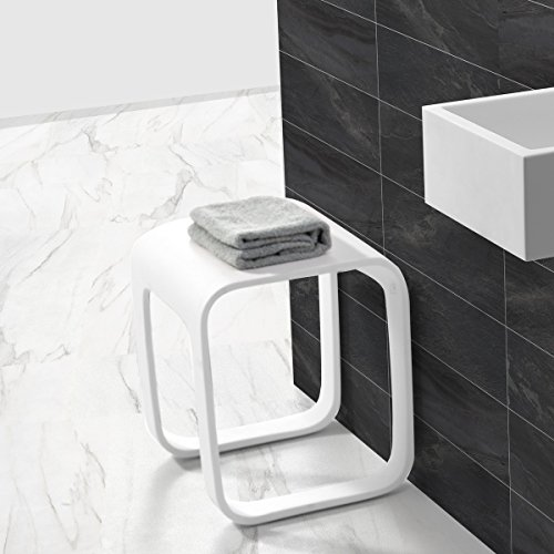 KKR Design Kunststein Badhocker/Duschhocker/Sitzhocker aus Mineralguss Modell: Stool-F, Oberfläche:Glänzend