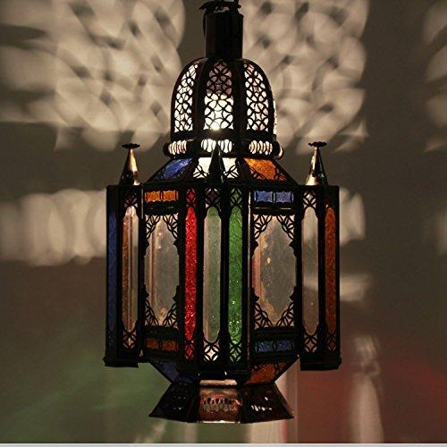 Casa Moro | Lámpara oriental Lámpara colgante marroquí Fadila colorida H 55 cm en metal y vidrio | artesanía de Marruecos | Espléndida lámpara colgante como de 1001 noches | L1259