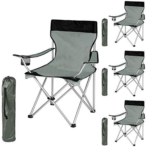 TecTake Silla de Camping Plegable + Portabebidas + Práctica Bolsa de Transporte cantidades - (4X Negro-Gris | No. 401249)