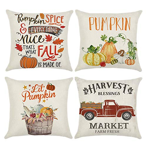 wtisan Fall Pillow Covers 18x18,Fall Decorations for Home,Thanksgiving Pillow Covers Fall Throw Pillow Covers Set of 4
