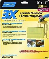Norton 02613 3X ハンディアルミ酸化紙サンドペーパー 320グリット 9インチ x 11インチ 3パック