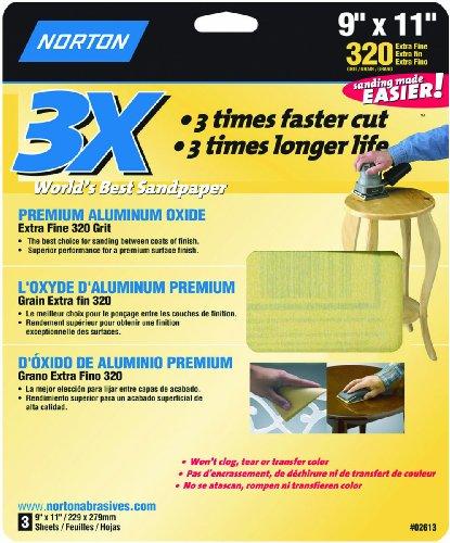 Norton 02613 3X Handy Aluminum-Oxide Sandpaper 320 Grit, 9-Inch x 11-Inch, 3-Pack