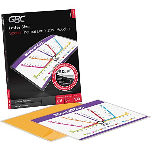 GBC Thermal Laminating Sheets / Pouches, Letter Size, 5 Mil, Speed Pouch, EZUse, 100-Count (3200716)
