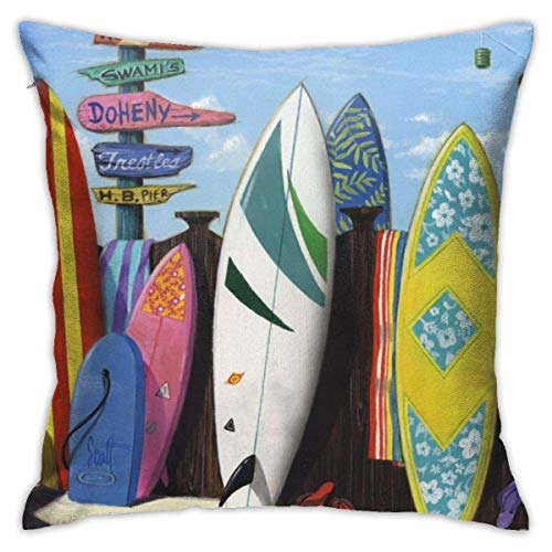 Hdadwy Soft Decorative Square Throw Pillow Covers Surf Board Cushion Cases Pillowcases for Sofa Bedroom Car 18 X 18 Inch No Pillow Insert
