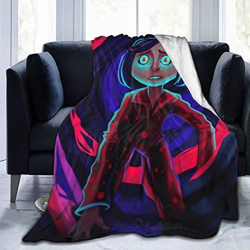 Regalo navideño de última hora, manta de franela de forro polar para juegos de cama en climas fríos, manta móvil ultra suave con póster de anime Coraline en 3D, gruesa hipoalergénica, 80 x 60 pulgadas