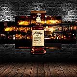 72Tdfc - Cuadro En Lienzo Imagen Impresión Pintura Decoración Cuadro Moderno En Lienzo 5 Piezas XXL 150X80 Cm Enmarcado Murales Pared Hogar Decor Barra De Whisky De Miel Jack Daniels