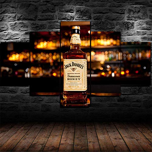 HHXXTTXS Barra de Whisky de Miel Jack Daniels 5 Pieza Cuadro En Lienzo —Impresión en Lienzo Picture Artworks Arte Pared Habitación Dormitorio Moderno Decorativo 150 x 80 CM(Marco)