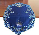 """Holiday Christmas Table Runner, Cutwork Embroidered Floral Blue Christmas Candles and Dark Blue Fabric Dresser Scarf Table Topper For Home Dining Xmas Table Top Decoration (Runner 13""""x36"""", Candle)"""