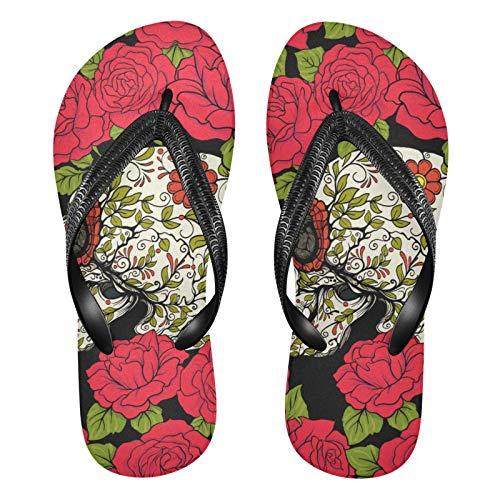 Mnsruu Chanclas de flores de calavera de rosa roja sandalias para el hogar zapatillas de hotel spa dormitorio viaje M para hombres mujeres