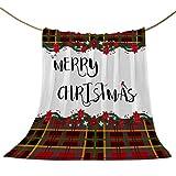 Manta polar de franela, con palabras navideñas con flores de petirón, súper suave, cálida, acogedora, ligera, decorativa para sofá o cama, búfalo a cuadros
