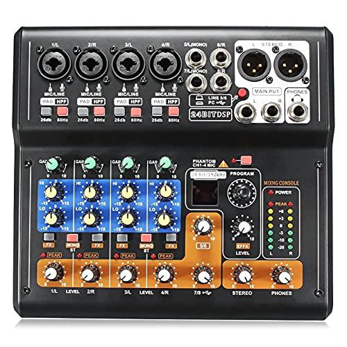 QinWenYan Mezclador de Audio 8 Canales Live Studio Audio KTV Karaoke Mixer USB Mezcling Console 48V para Afinar (Color : Black, Size : One Size)