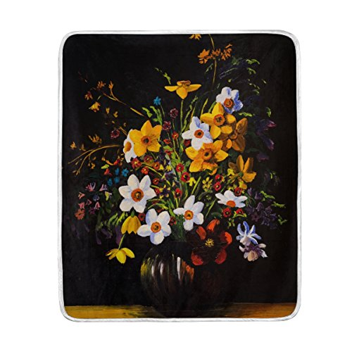 ALAZA My Daily Spring Flower Oil Painting Throw Blanket Soft Warm Couch Blanket Polyester Microfiber Lightweight Bed Blanket 50x60 inch