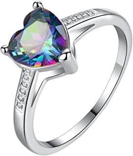 winsopee Love Ring - Eternal Love Ring Band Shaped Hearts Colorful Zircon Jewelry for Women Girls