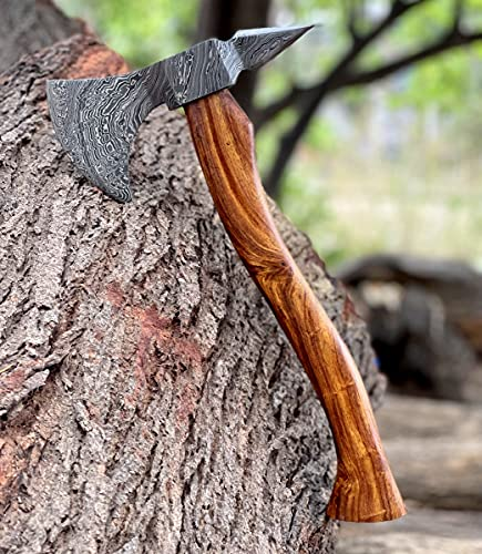 Handmade Damascus Steel Axe Hatchet Tomahawk Knife 16.00 Inches Axe Rosewood Handle vk2217