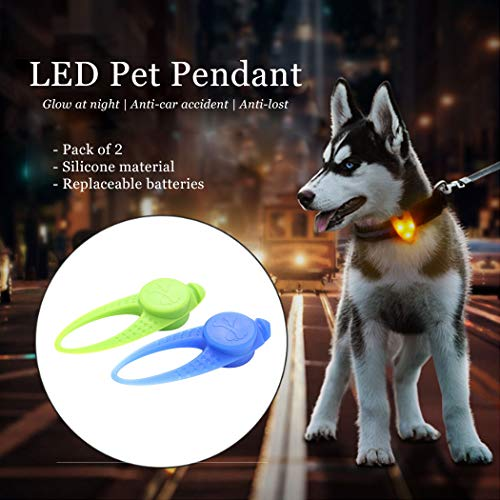 Dresbe LED Collar Clip-On Light Pet Dog Cat Safety Light Luminous Silicone Dog Tags Light Up Dog Leash Pendant Dog Accessories for Night Dog Walking(Pack of 2) (Blue+Green)