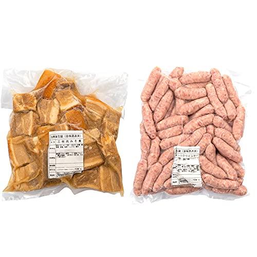 三枚肉みそ煮 & ニンニクウインナー 1kg×各1P 琉球ミート 沖縄の伝統的な豚肉料理の代表 味噌ラフテー