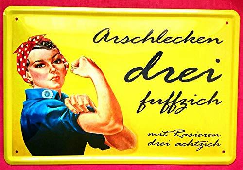 Unbekannt Blechschild 20x30 cm Arsch lecken DREI fuffzich! Mit Rasieren Spruch Fun Bar Metall Schild