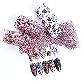 DIOUS Pequeño Arte de la uña de Papel de Encaje Floral, Apliques de Clavo de Papel Estrellado, para Decoraciones de Arte de uñas,Rosado
