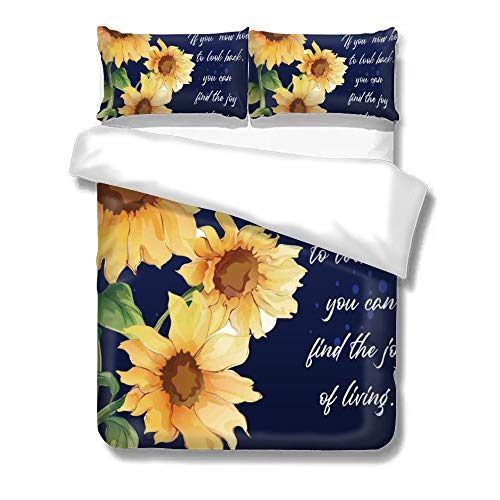 Quits Double Covers, Sunflower Yellow with Motto in The Navy Blue Background , Bedding Sets Double, Decorative Soft Microfiber Comforter Cover with 2 Pillow Shams,Zippered, Colorful 3 Pieces