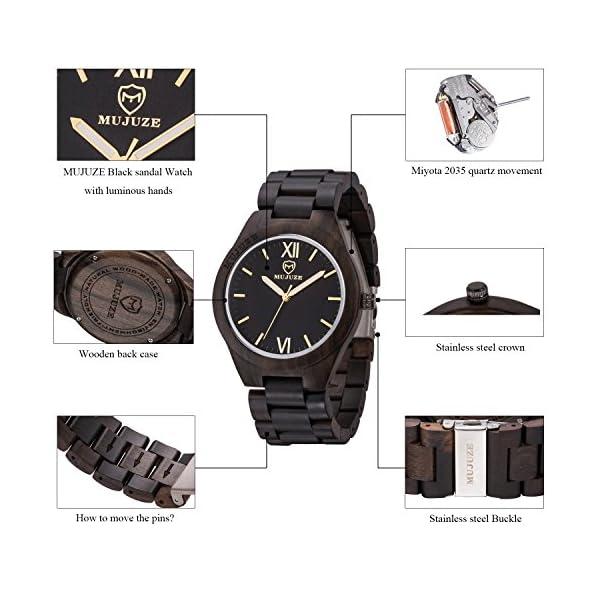 Wood Watch, ShiLiTech Natural Mens Wooden Watch Wooden Watch Analog Quartz Wood Wrist Watch