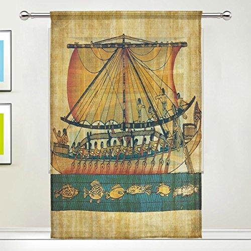Use7 Antiguo Antiguo Antiguo Egipcio Barco Ventana Sheer Cor