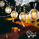 Lichterkette außen,VIFLYKOO LED Lichterkette Glühbirnen Aussen 9.5M 25er Birnen 3 Ersatzbirnen Wasserdicht Lichterkette Glühbirnen mit Stecker Deko für Garten, Hochzeit Party,Weihnachten - Warmweiß