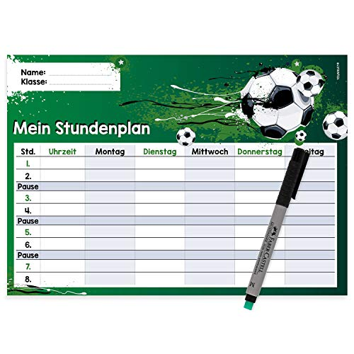 younikat Fußball Stundenplan abwischbar I DIN A4 I Rückseite magnetisch für den Kühlschrank I Jungen Jungs Teenager, cool I mit Stift I dv_641