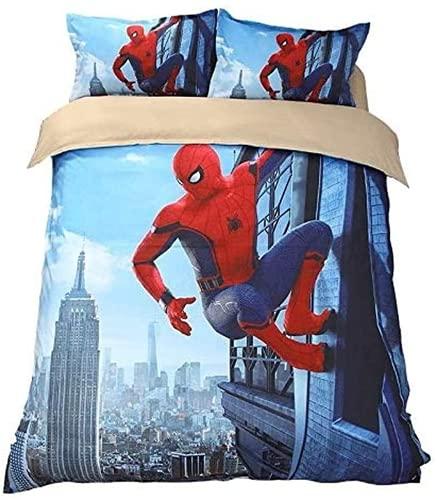 QWAS Juego de ropa de cama de Spiderman, 3 piezas, adecuado para todas las estaciones, muy suave y cómodo (L9,135 x 200 cm + 50 x 75 cm x 2).