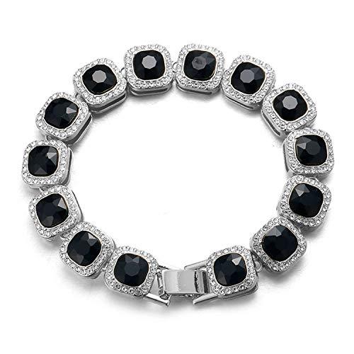 Halukakah Diamante Pulsera de Oro Blanco para Hombres,Platino Acabado en Oro Blanco Cuadrado Diamante Negro Pulsera 21.5cm,Diamantes de Laboratorio,con Caja