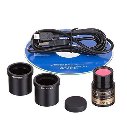 AmScope MD200 2.0MP Digital Microscope Camera for Still and Video Images, 40x Magnification, Eye Tube Mount, USB 2.0 Output, Includes Software