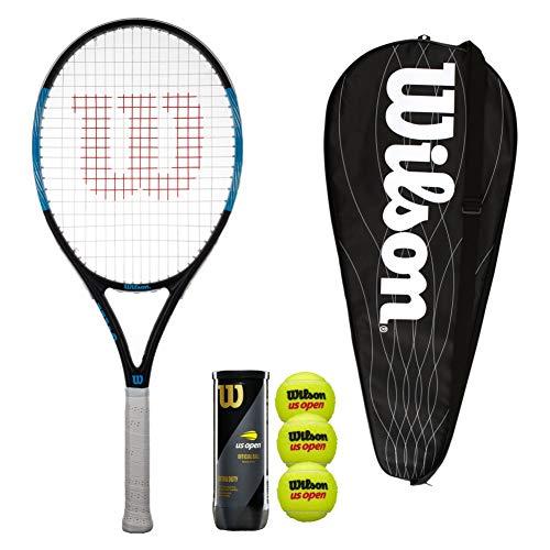 Wilson Ultra Pro 105 - Raqueta de tenis con cubierta y 3 pelotas de tenis (tamaño de agarre 3 (4 3/8 pulgadas)