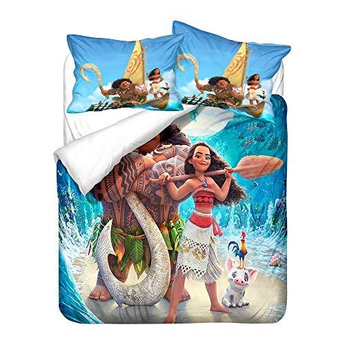 Probuk Juego de ropa de cama 3D Disney Moana Vaiana, 100% microfibra, funda nórdica para niños y niñas, con funda de almohada (A-05,150 x 200 cm (50 x 75 cm)
