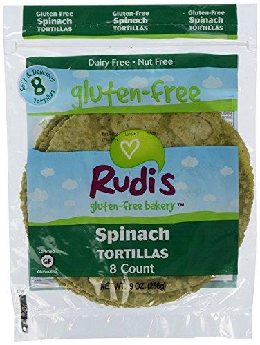Rudi's Bakery Gluten Free Spinach Tortillas 9 oz (Pack of 12)