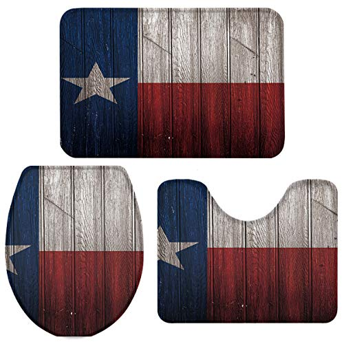 3 Pieces Bathroom Rugs and Mats Sets, Non Slip Water Absorbent Bath Rug, Toilet Seat/Lid Cover, U-Shaped Toilet Mat, Home Decor Doormats - Retro Texas State Flag