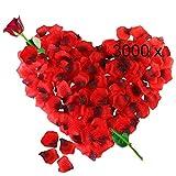3000 Pétalos de Rosa Artificiales Rojo de Seda, Decoración Romantica para el Día de San Valentín Bodas Nupcial Aniversario y Compromiso