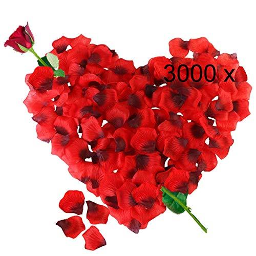 3000 Petali di Rosa in Seta Artificiale Rossi per Decorazione Romantica, San Valentino, Anniversario Matrimonio e Fidanzamento