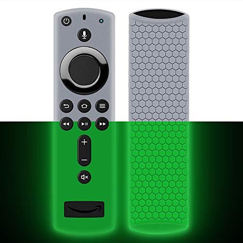 Hydream Schutzhülle für Fire TV Stick 4K / 4K Ultra HD Kompatibel mit Neuen Alexa-Sprachfernbedienung(2.Gen), Leichte rutschfeste Stoßfeste Silikonhülle Cover Hülle Fernbedienung (Glow Green)