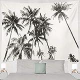 Tapisserie tissu de palmier de noix de coco tropical silhouette noir et blanc tenture murale décor élégant tapis abstrait tissu-150x200cm